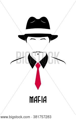 Gangster With Mustache Wearing A 1930s Hat And Red Tie. Avatar Of The Italian Mafia. Stock Vector Il