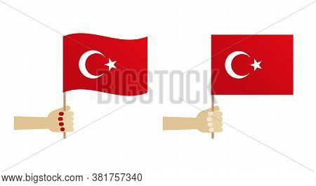 Vector Flat Design Icons, Illustration With  People Holding Red Turkish National Flag In Hands.