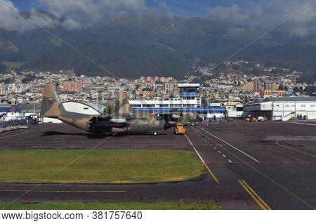 Quito, Ecuador, June 26, 2018: Ecuadorian Air Force Lockheed C-130 Hercules Territory of Quito Airport in Ecuador.