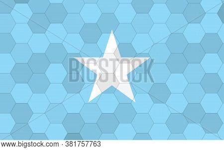 Somalia Flag Illustration. Futuristic Somali Flag Graphic With Abstract Hexagon Background Vector. S