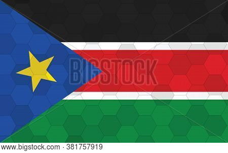 South Sudan Flag Illustration. Futuristic South Sudanese Flag Graphic With Abstract Hexagon Backgrou