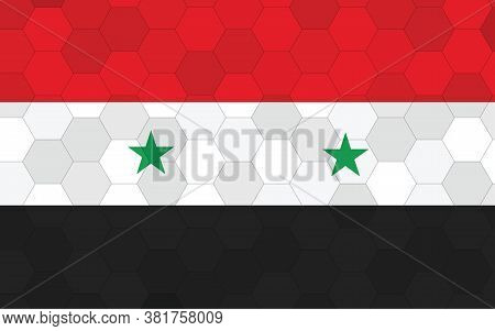 Syria Flag Illustration. Futuristic Syrian Flag Graphic With Abstract Hexagon Background Vector. Syr