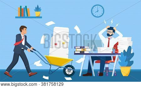 Overworked In The Office. Male Worker At The Desk Exhausted With Too Much Paper Work, His Colleague