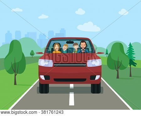 Family Driving In Modern Electric Suv Car On Weekend Holiday. Vector Flat Illustration