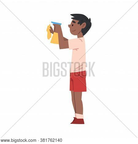 Boy Wiping Dust With Sprayer Bottle And Rag, Child Doing Household Chores Cartoon Style Vector Illus