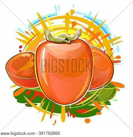Persimmon. Summer Orange Fruit. Sun Rays And Juice Splashes. Garden Agriculture Plant. Autumn Southe