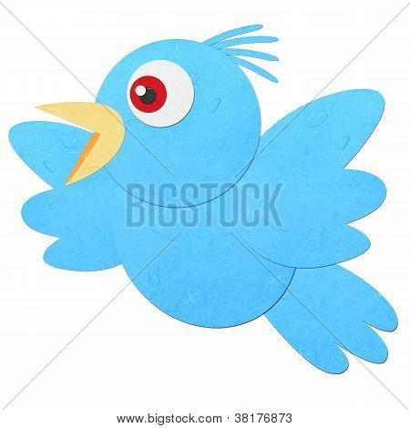 Rice Paper Cut Blue Bird