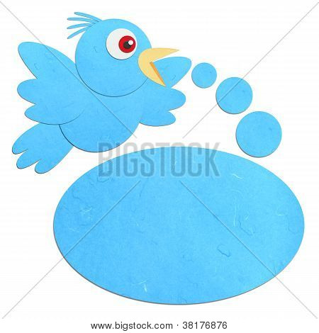 Rice Paper Cut Talking Blue Bird