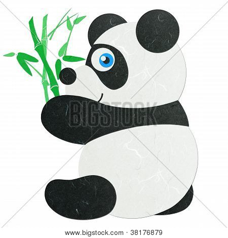 Rice Paper Cut Cute Little Panda With Bamboo