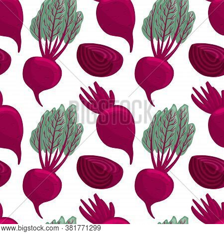 Vector Beetroot Seamless Pattern In Cartoon Style. Healthy Organic Beets With Leaves And Beetroot Sl