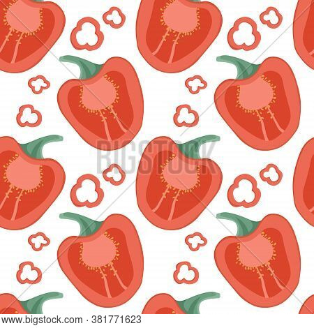 Vector Bell Peppers And Chili Peppers Seamless Pattern In Cartoon Style. Healthy Organic Pepper Slic