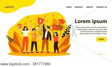 Happy Parents And Children Celebrating Success. Family Contest, Teamwork, Togetherness Flat Vector I