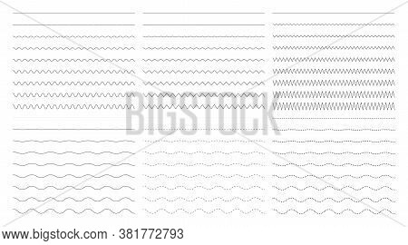 Vector Collection Of Different Thin Wide And Wavy Narrow Line. Set Of Horizontal Wavy - Curvy And Zi