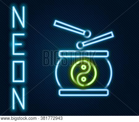 Glowing Neon Line Chinese Drum Icon Isolated On Black Background. Traditional Asian Percussion Instr