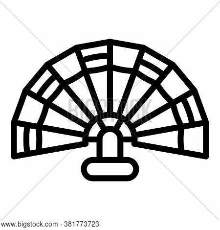 Fan Folding Icon. Outline Fan Folding Vector Icon For Web Design Isolated On White Background