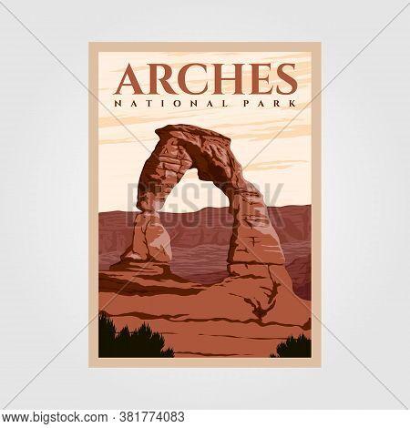 Arches National Park Outdoor Adventure Vintage Poster Illustration Designs