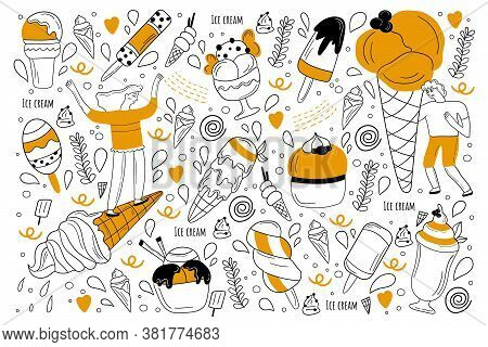 Ice Cream Doodle Set. Collection Of Hand Drawn Sketches Templates Of Sundae Balls And Waffle Cone Or