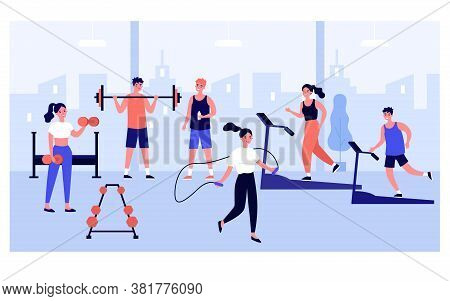 People Exercising In Gym With Panoramic Window, Practicing Weight And Cardio Training, Running On Tr
