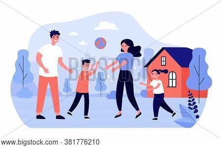 Happy Family Couple Enjoying Outdoor Activity With Kids. Active Parents And Children Playing Ball To
