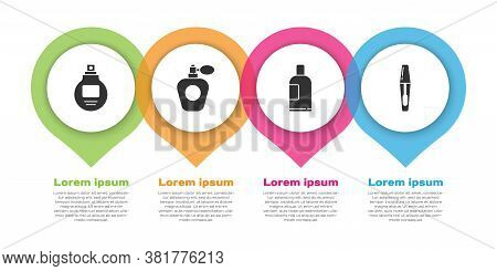 Set Perfume, Perfume, Bottle Of Shampoo And Mascara Brush. Business Infographic Template. Vector