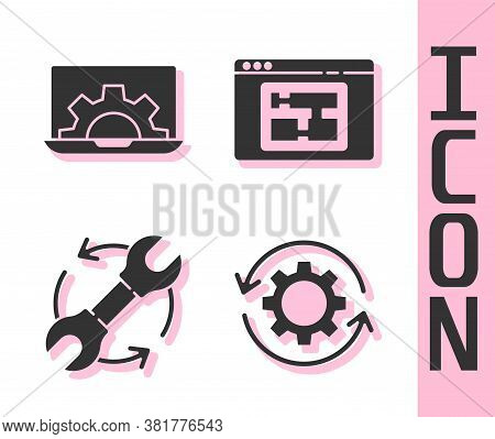Set Gear And Arrows As Workflow, Laptop And Gear, Wrench And Arrows As Workflow And House Plan Icon.