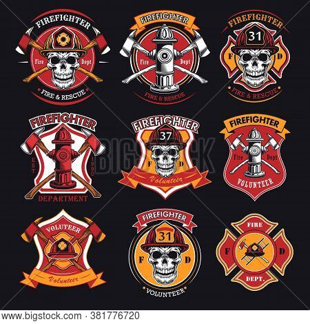 Firefighter Patches Set. Badges With Skulls In Helmets, Axes, Hydrant, Red Heraldry With Ribbons. Ve