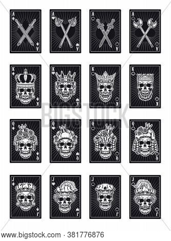 Playing Poker Cards With Skulls Set. Black Kings, Queens, Jokers, Ace Of All Suits. Vector Illustrat