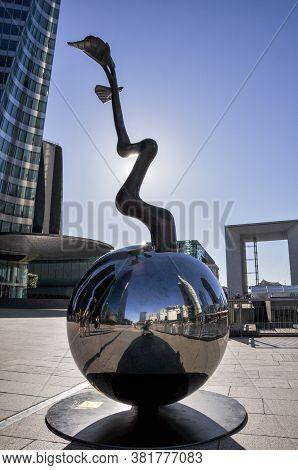 Paris - July 19, 2010: A Statue Located In The Area Of La Defense. La Defense Is The Largest Commerc