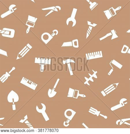 Hand Tools, Construction, Seamless Pattern, Brown. White Icons On A Brown Field. Plain, Flat Backgro