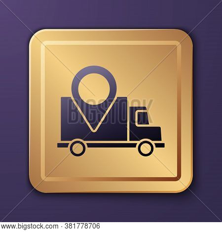 Purple Delivery Tracking Icon Isolated On Purple Background. Parcel Tracking. Gold Square Button. Ve
