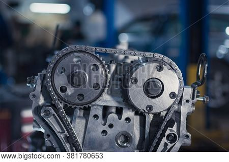 Overhaul Of The Motor. Partially Disassembled Engine In Car Service. Close Up