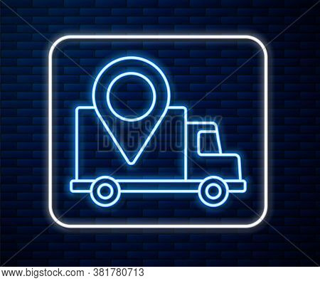 Glowing Neon Line Delivery Tracking Icon Isolated On Brick Wall Background. Parcel Tracking. Vector