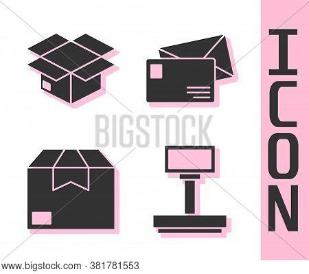 Set Scale, Carton Cardboard Box, Carton Cardboard Box And Envelope Icon. Vector