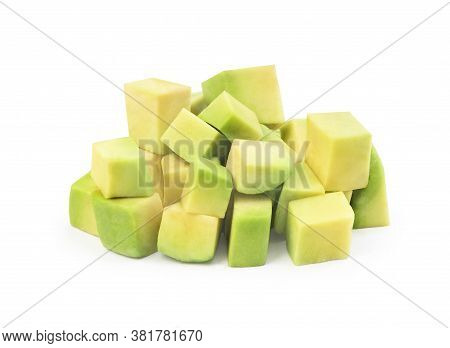 Diced Avocado Isolated On A White Background