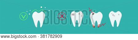 Sick, Destroyed Teeth: Dental Plaque, Caries, Chips, And Cracks And Healthy Clean Teeth. Dental Care
