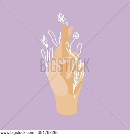 Vector Illustration Hand Crosses Fingers For Good Luck With Doodle Flowers. Flat And Line Art Isolat