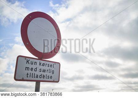 A Round No Trespassing Sign In Denmark