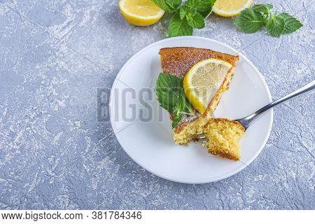 Step By Step Recipe. Cooking Pie Or Semolina Cake. Step 7 Piece Of Freshly Baked Pie Or Semolina Cak