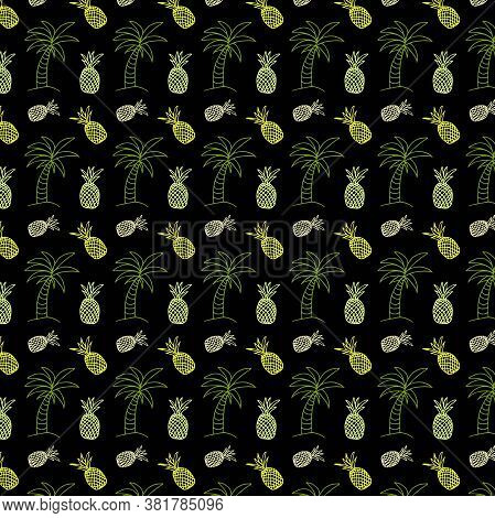 Pattern In Doodle Style Linear Palm, Seashell, Pineapple On A Black Backgroun. Seamless Pattern With