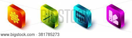 Set Isometric Globe Of The Earth And Gear, Magic Wand, Speech Bubble With Text Cmyk And Color Palett