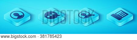 Set Isometric Create Account Screen, Speech Bubble Chat, Telephone And Create Account Screen Icon. V