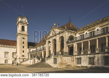 Historic University Building In Coimbra, Portugal In Spring Day
