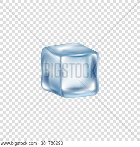 Realistic Translucent Cube Of Ice And Frozen Water On A Transparent Background.