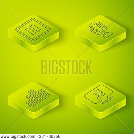 Set Isometric Microphone, Music Equalizer, Musical Note In Speech Bubble And Pause Button Icon. Vect