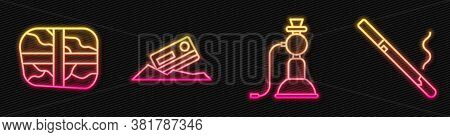 Set Line Hookah, Package With Cocaine, Cocaine And Credit Card And Cigarette. Glowing Neon Icon. Vec