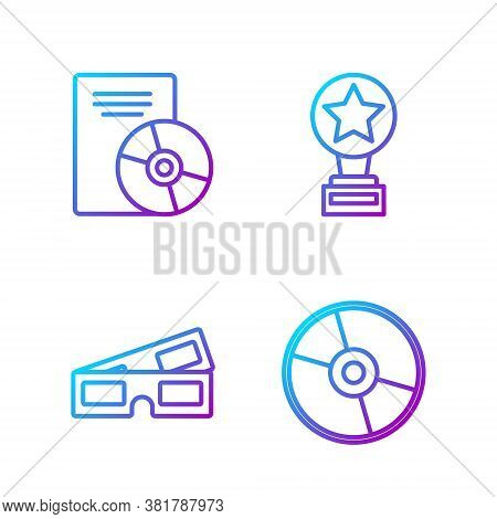 Set Line Cd Or Dvd Disk, 3d Cinema Glasses, Cd Or Dvd Disk And Movie Trophy. Gradient Color Icons. V