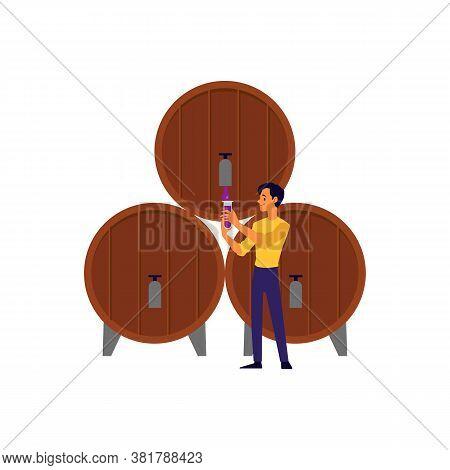 Cartoon Man Pouring Drink From Wooden Wine Barrel Keg