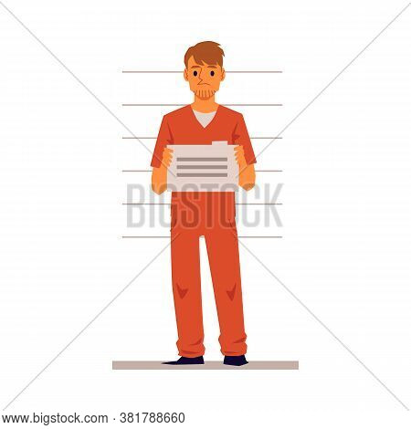 Inmate Or Convict Character In Police Station Flat Vector Illustration Isolated.
