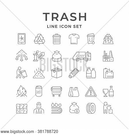 Set Line Icons Of Trash Isolated On White. Garbage Burning, Service Worker, Broken Electronics, Recy