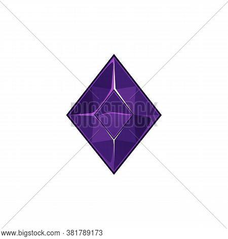 Violet Diamond Or Sapphire Crystal Icon, Cartoon Vector Illustration Isolated.